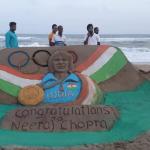Artists congratulated Neeraj Chopra With Sand Art